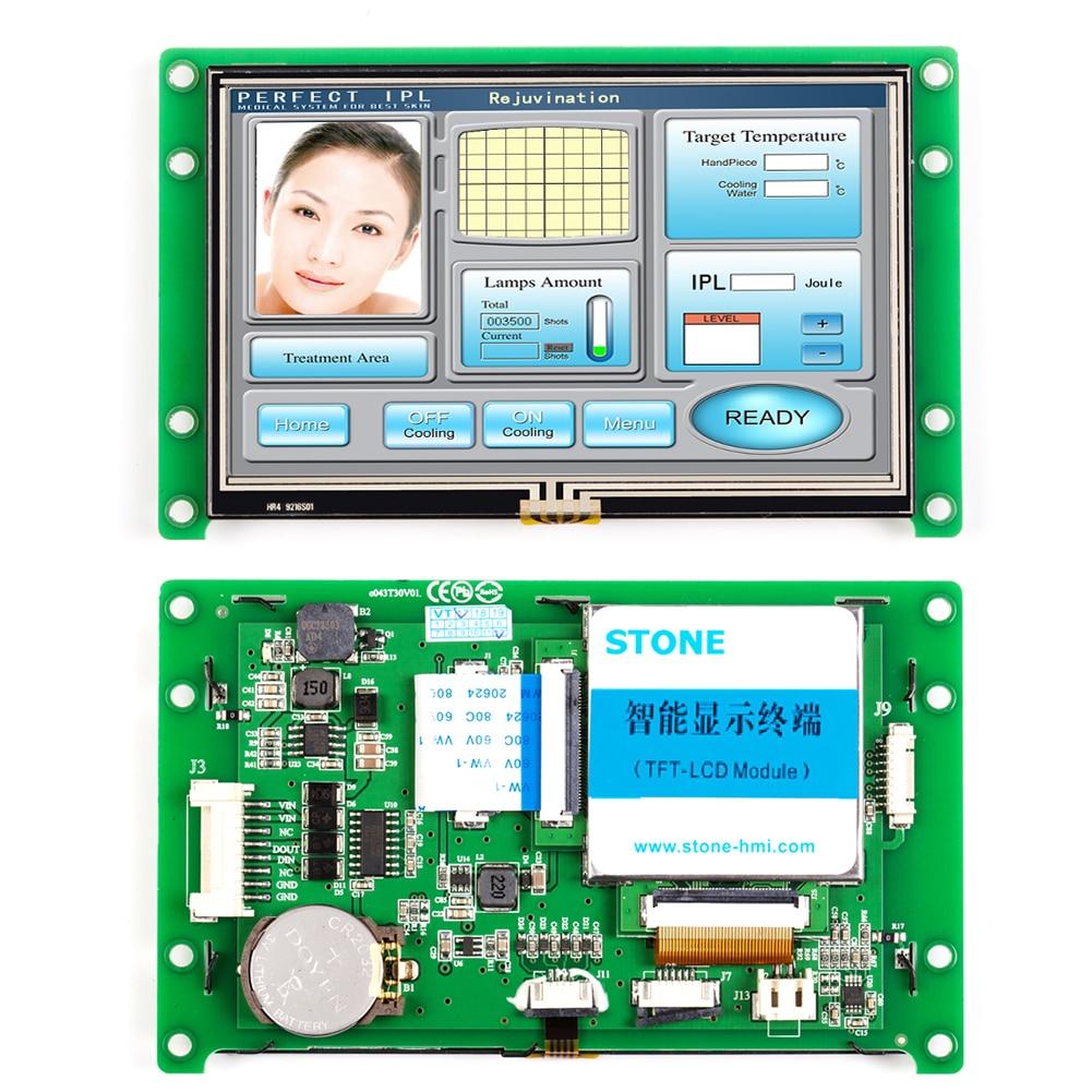 واجهة آلة Huamn مقاس 4.3 بوصة مع جهاز تحكم قابل للبرمجة وشاشة تعمل باللمس لاستخدام التحكم الصناعي