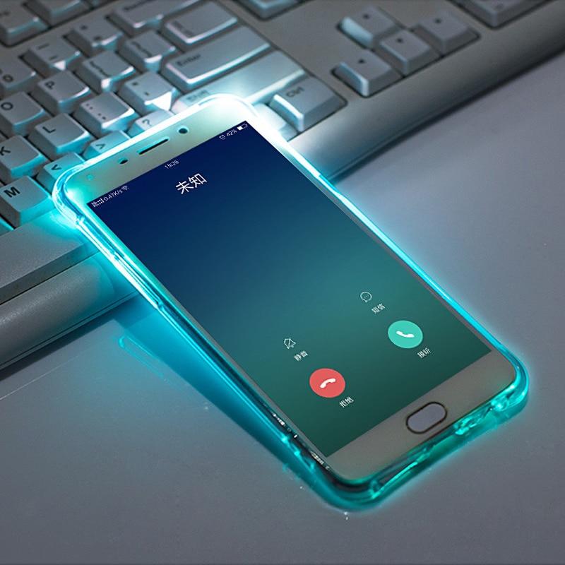 Caixa de telefone com luz refrata de design mágico, caixa brilhante de telefone para iphonese 11pro xsmax xr 6s 7 8 plus, capa de tpu transparente brilhante com airbags