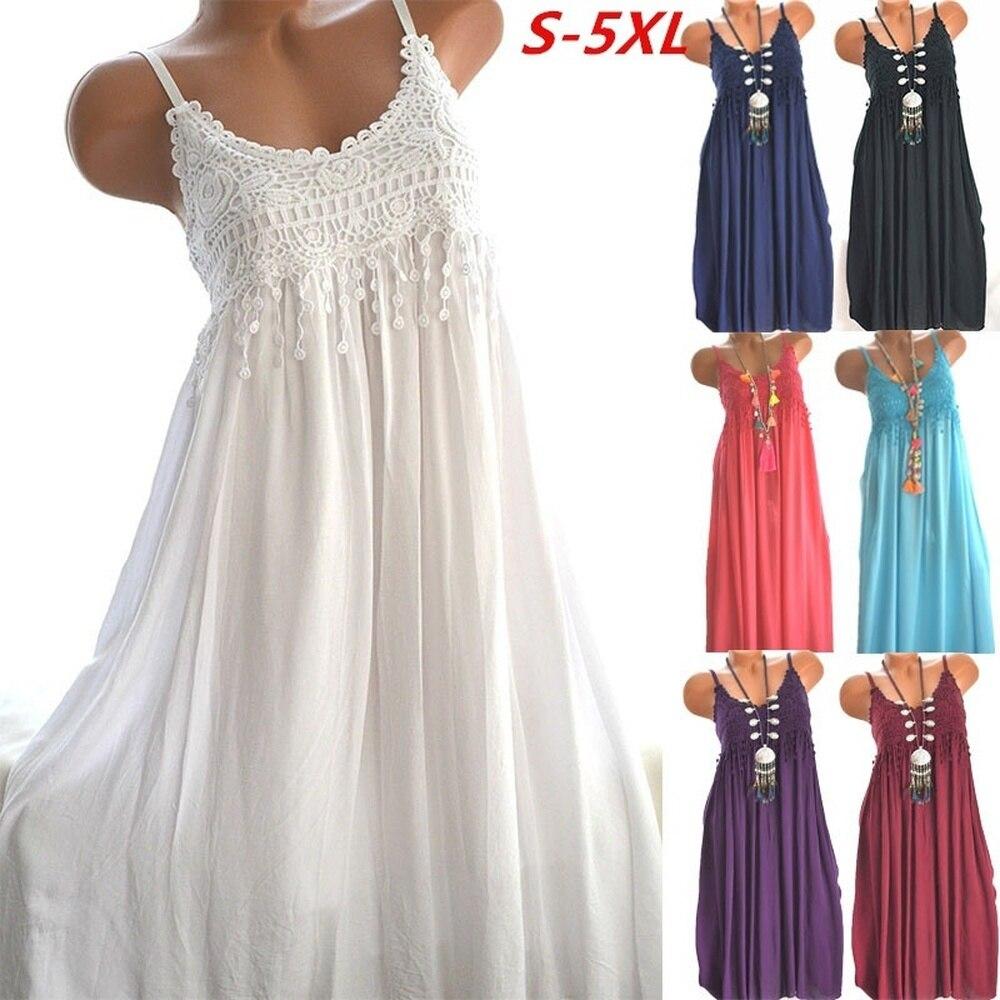 ZOGAA 2019 HOT Sale Women Sexy Dress Casual Fashion Lace Sling Long Dress Loose Comfortable Maxi Dresses for Women Big Size 5XL