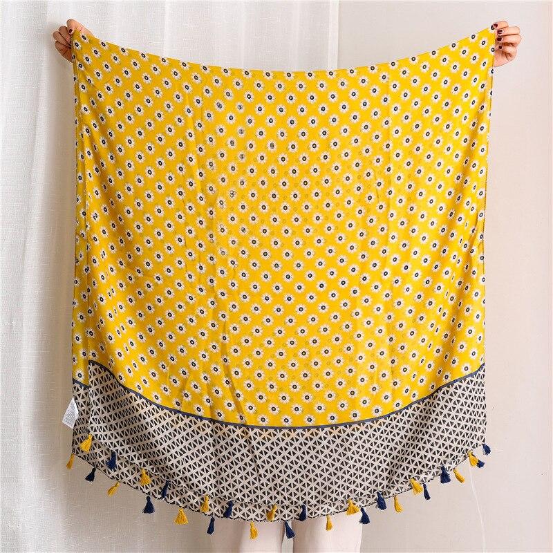 2020 Primavera y novedad de verano bufanda de algodón estilo impreso pañuelos de seda resistentes al sol Comercio exterior pañuelo de gasa pañuelo para la cabeza chal