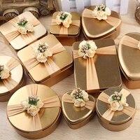 1pc tinplate gift box candy case geometric shape metal storage box gold flower decor organizer party supplies