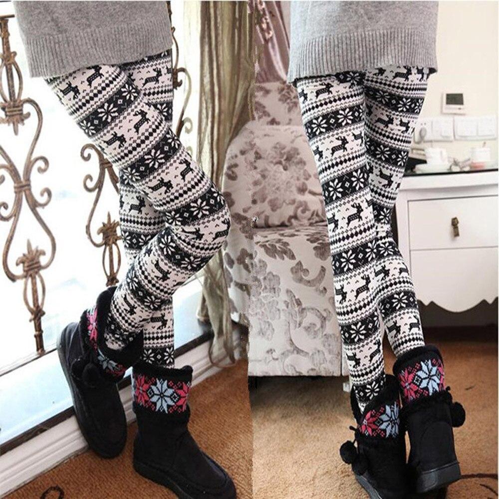 Legging mujer moda ciervo estampado de Navidad Bottoms Invierno Caliente pantalones de talla grande 5XL Casual Skinny Fitness leggings # sw