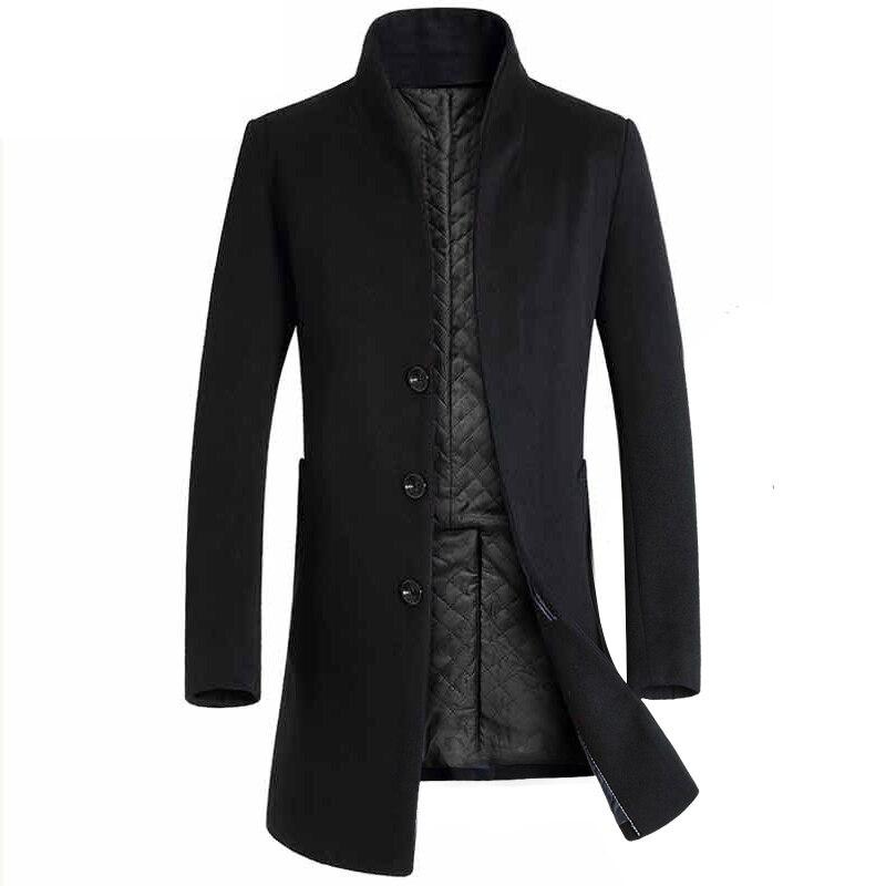 2019 Otoño e Invierno nueva Boutique de moda de Color sólido Casual de negocios de los hombres largos abrigos de lana/para hombre gris chaquetas de lana larga