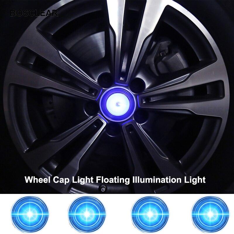 E-HEELP VW56MM 65MM, tapas de buje de 4 Uds., tapas de rueda de coche con luz flotante, luz LED, cubierta central, tapa de iluminación