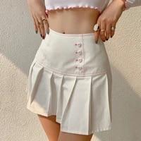 women high waisted pleated skirt button down a line mini skirt skater tennis school uniform skirts lining shorts
