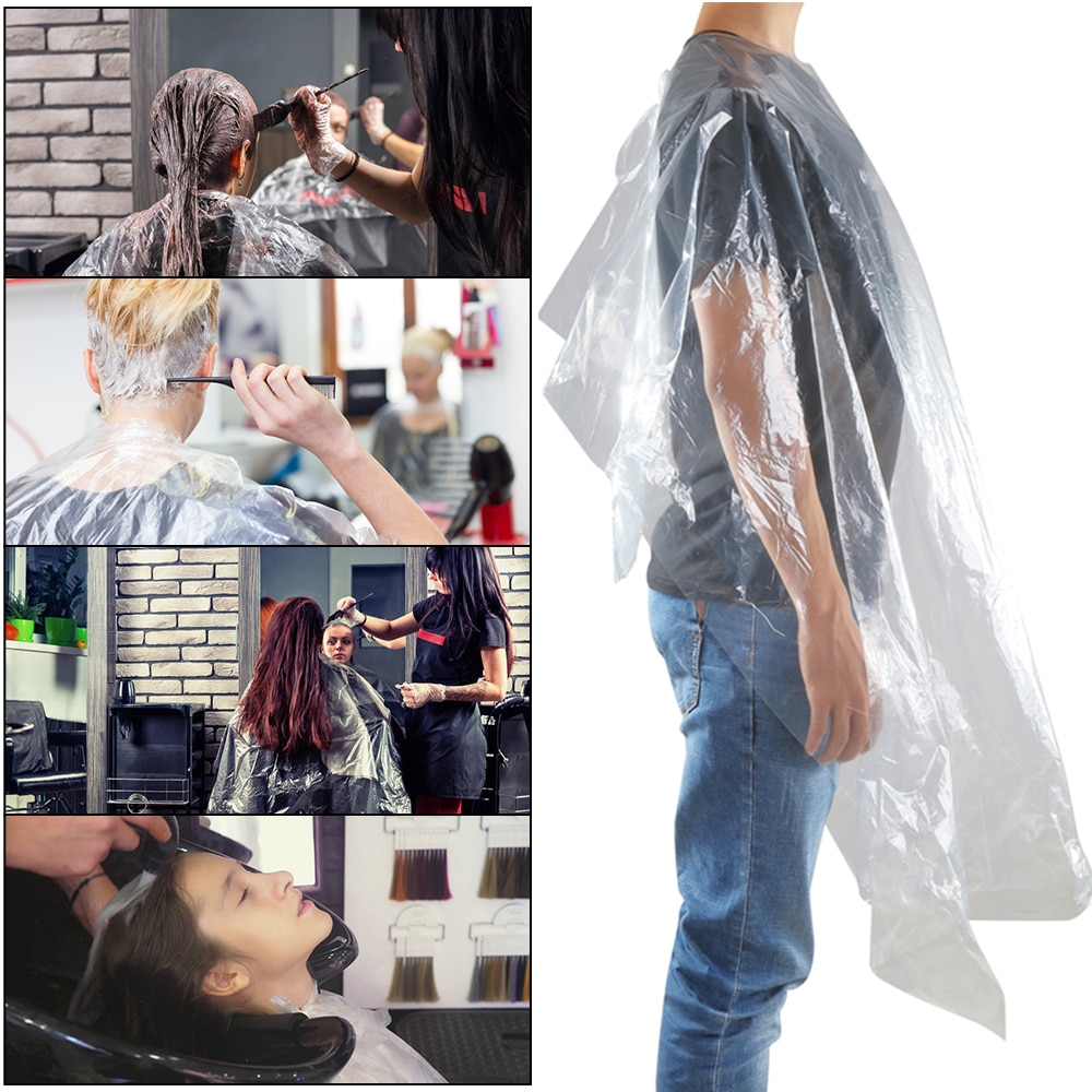 AliExpress - 50/100pcs Disposable Hairdressing Capes PE Waterproof Apron Cutting Dye Hair Cape Barber Transparent Hairdressing Cloth