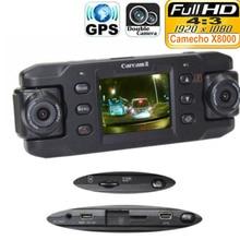 New Dual Lens Car Camera X8000 with GPS Full HD 1080P G-sensor Dual 180 degree rotating lens Vehicle DVR Dash Cam Recorder dfdf
