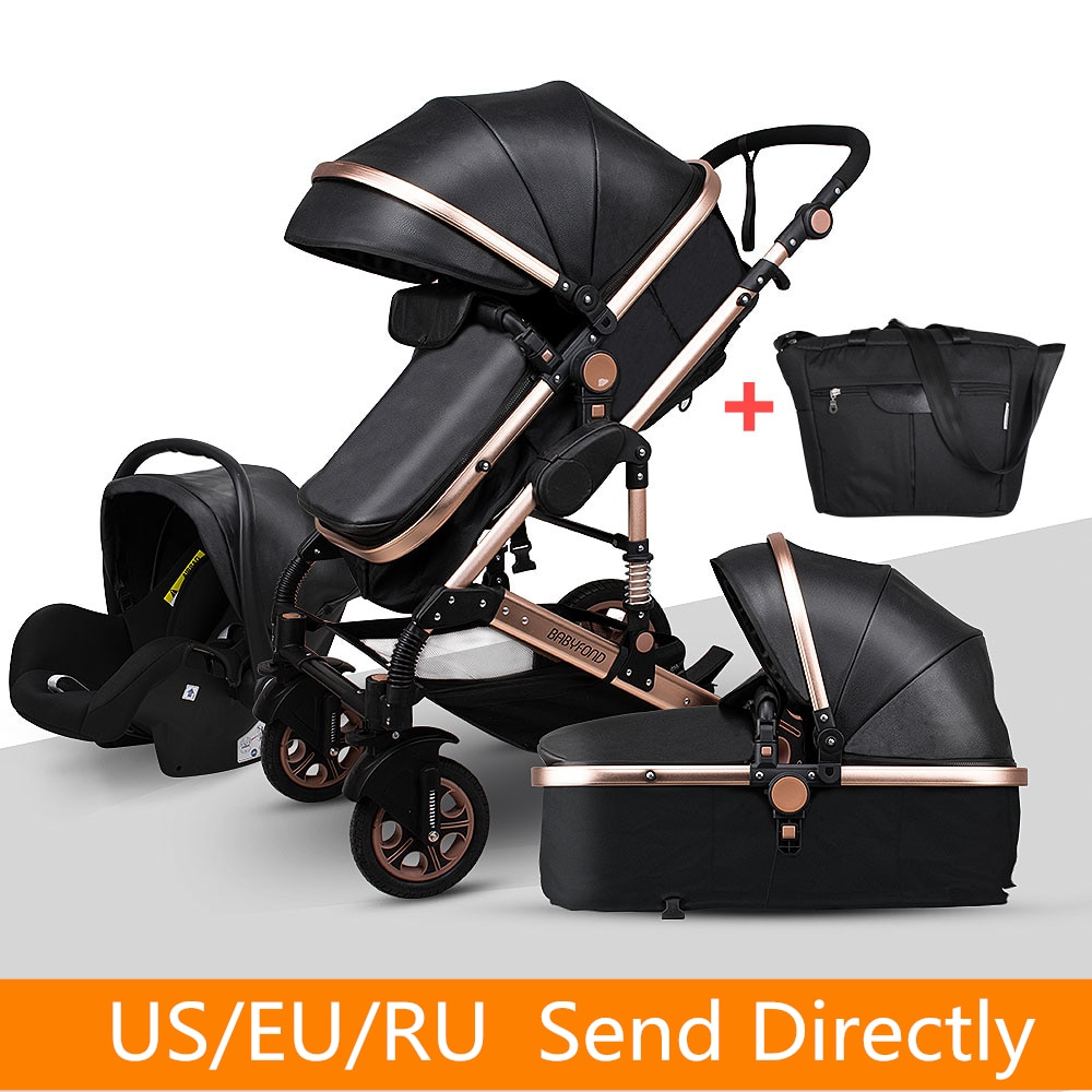 Newborn Baby Stroller 3 in 1 High Landscape Carriages Luxury Travel Pram Quality Bebe Basket Whit Ca