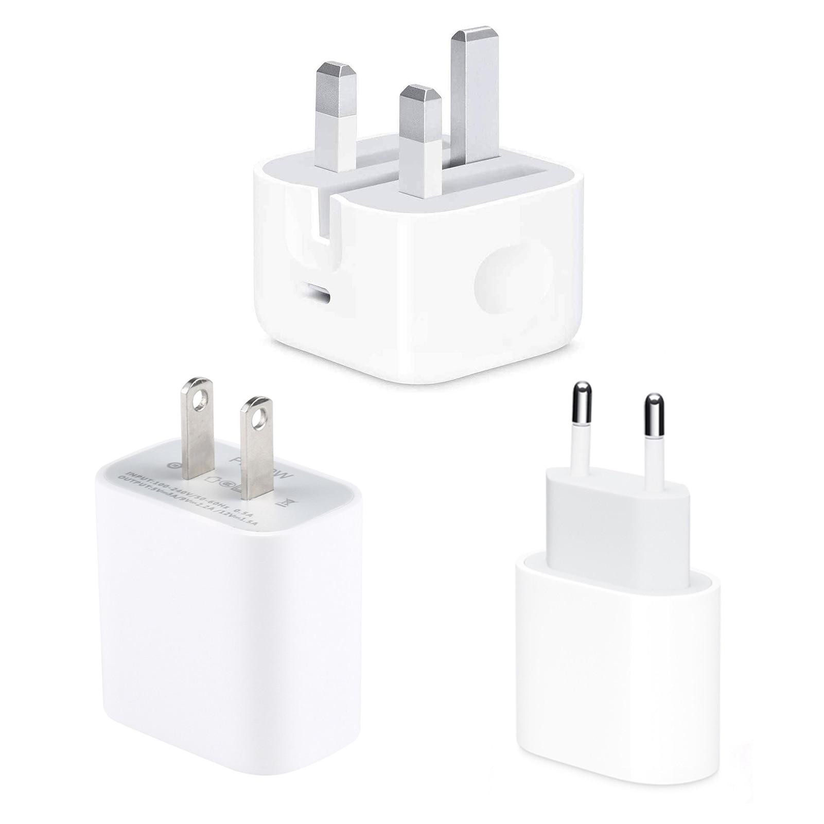 Novo 20w pd para iphone 12 USB-C cabo adaptador de alimentação carregador reino unido/eua/ue plugue do telefone inteligente carregador rápido para iphone 12/x/8
