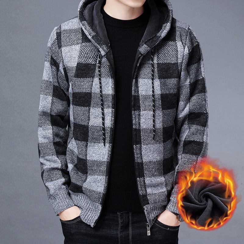 NEW Men's Sweater Coat 2021 Autumn Winter Thick Warm Hooded Plaid Wool Sweater Cardigan Jumpers Zipper Fleece Coat Men