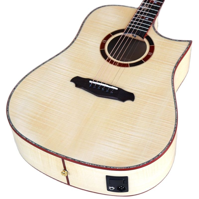 high grade solid flame maple top acoustic guitar 41 inch sharp angle design 6 string high gloss folk guitar real shell binding enlarge