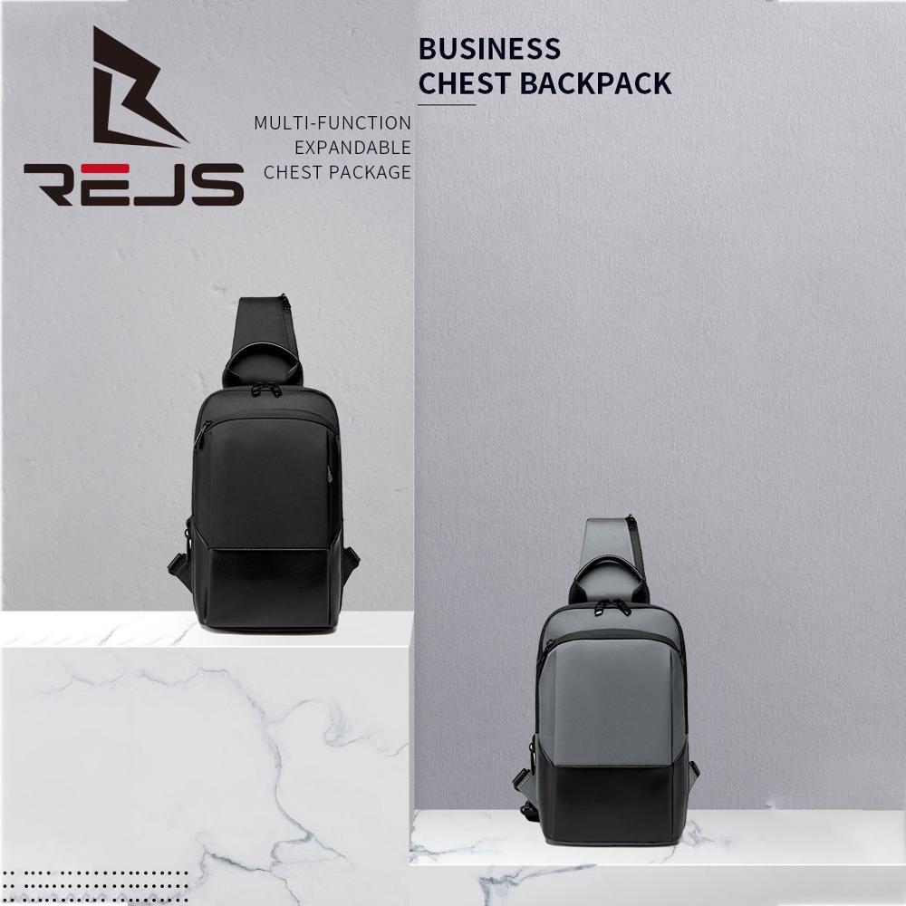REJS LANGT Business Chest Bag Men Multifunctional Expandable Messenger Bags Waterproof Casual Shoulder Bag for School SAC