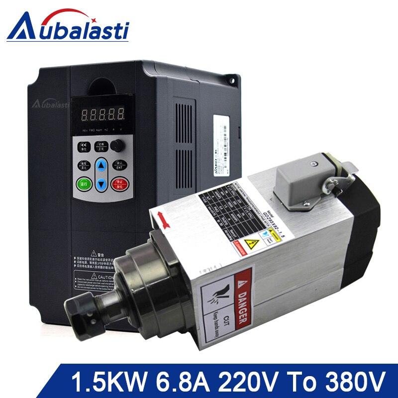 Aubalasti 380 kW husillo de refrigeración por aire 220V + inversor monofásico 380V a 3 fases V kW corriente 9A para máquina enrutadora CNC