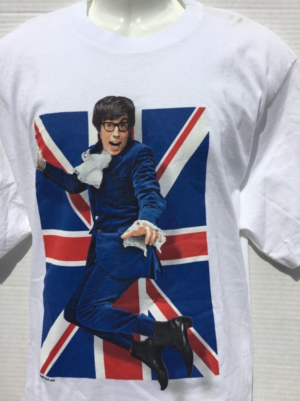 1998 Austin Powers camiseta blanca de 2 lados hecha en Estados Unidos MIKE MYERS raro NWOTCool Casual pride camiseta hombres Unisex camiseta de moda