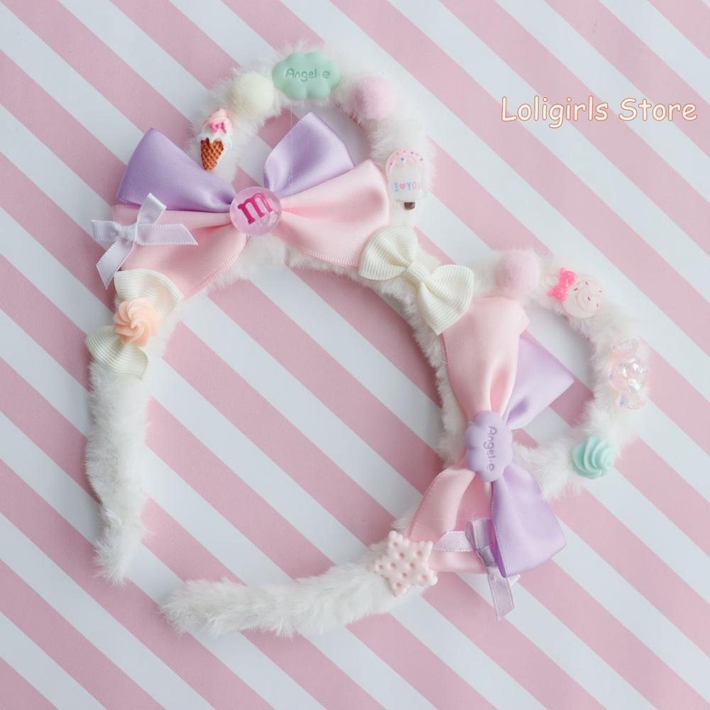 Diadema de pelo dulce Lolita con orejas de oso, Clip para el pelo, tocado negro, Kawaii, rosa, morado, orejas de conejo, aro de pelo, accesorios para Cosplay