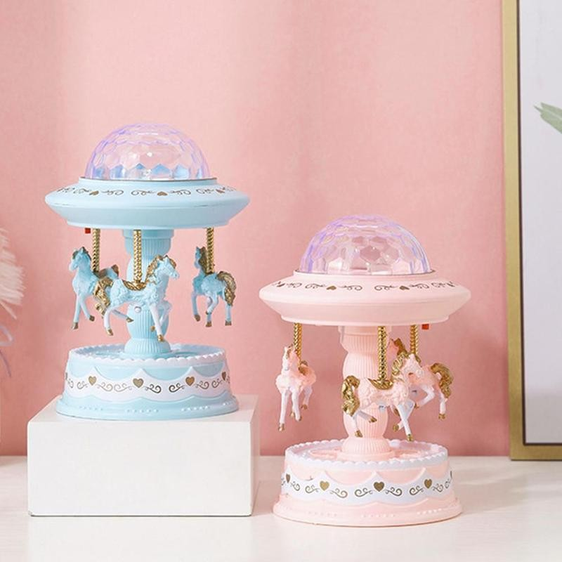 2 Colors Music Box Music Boxes Kid Toy Carousel Box Merry-go-round Music Boxes Romantic Valentine's