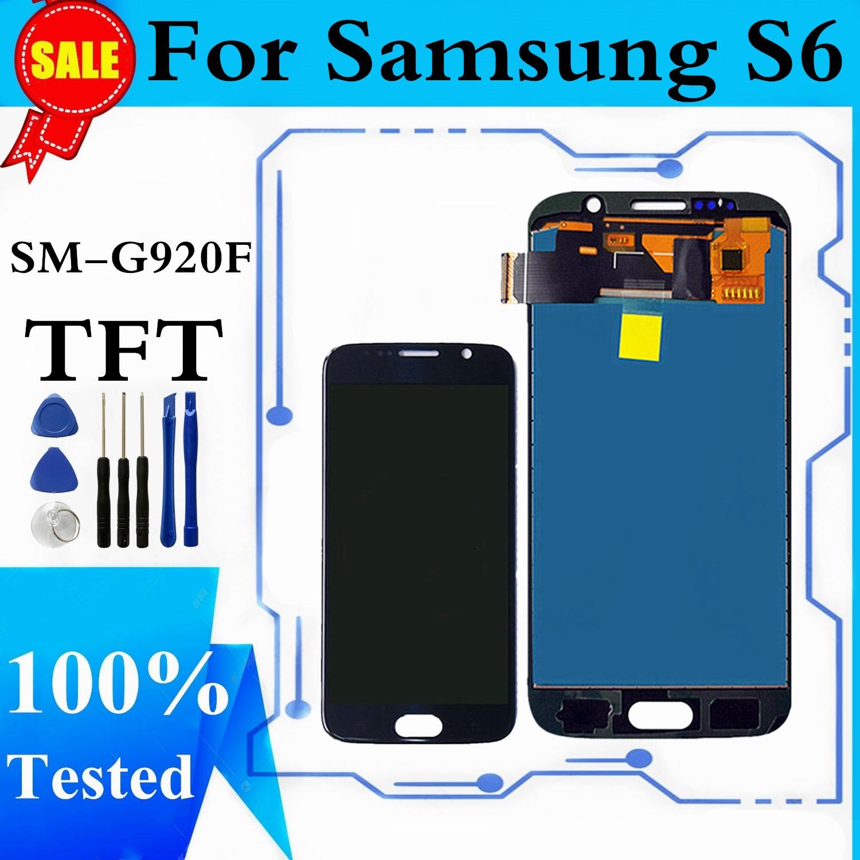 LCD لسامسونج غالاكسي S6 SM-G920F شاشة LCD تعمل باللمس محول الأرقام لاستبدال شاشة سامسونج S6 G920