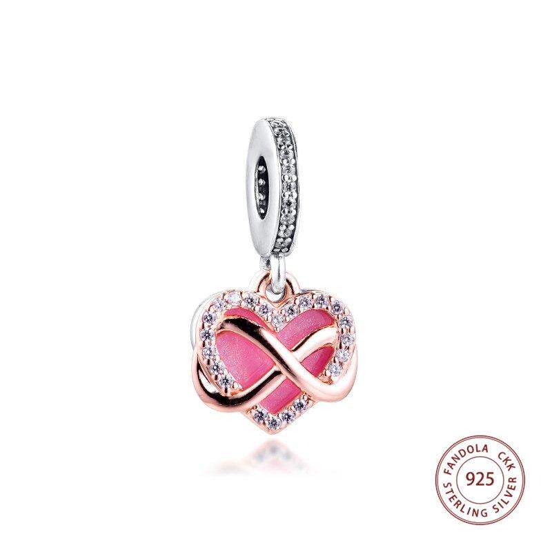 2020 nuevo se adapta a Pandora pulsera de plata de ley 925 plata brillante corazón infinito cuentas y abalorios colgantes para hacer joyería kralen