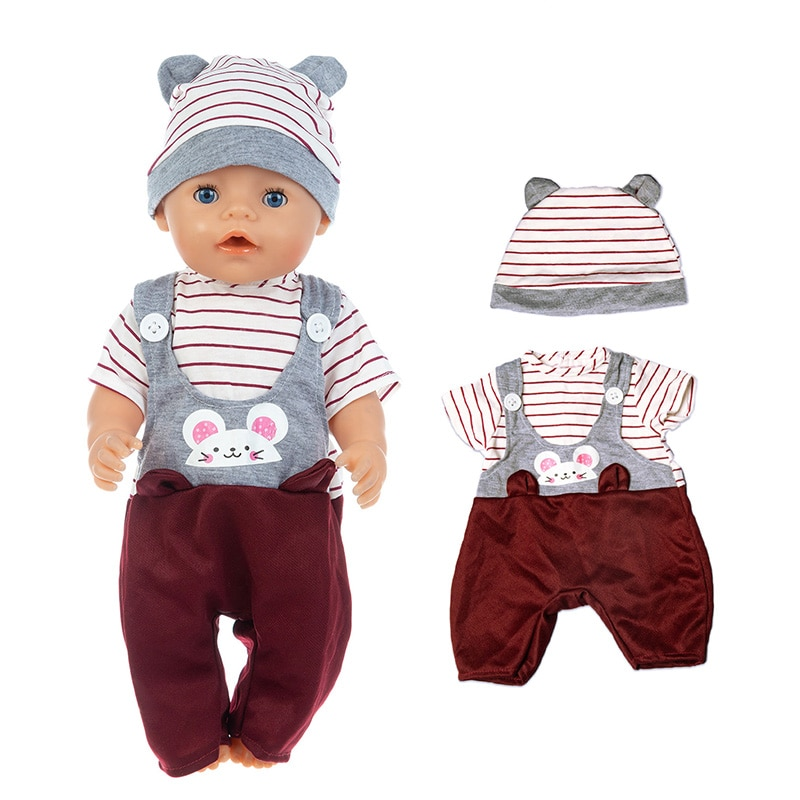 Baby New Born Fit 17 inch 43cm Doll Clothes Accessories White Rabbit Hat Casual Clothes For Baby Birthday Gift недорого