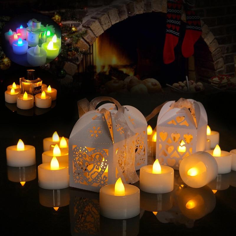 Беспламенный светодиодный чайный светильник, Чайные свечи, Романтические свадебные свечи, свечи для украшения дня рождения, вечеринки, сва...