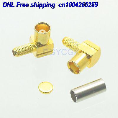 DHL 100 piezas MCX hembra conector de ángulo recto RG174 RG316 LMR100 F conector 22ds
