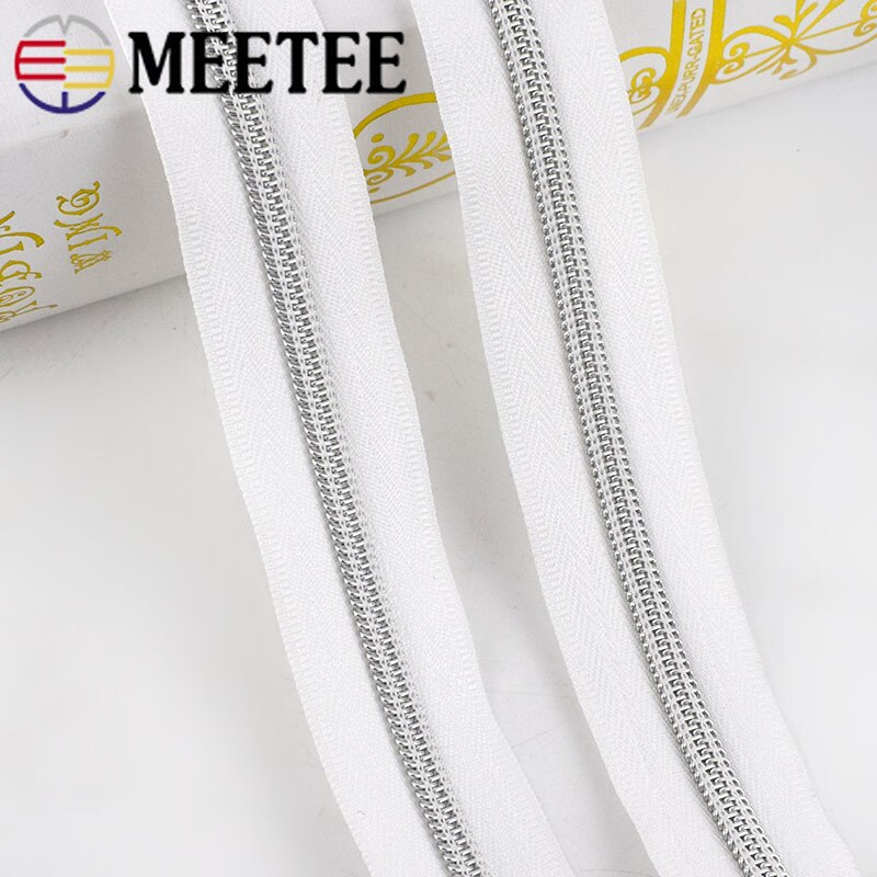 Meetee 4/8m, cremallera de código de carga de nailon, bobina de diente dorado, cremallera para costura DIY, bolsos de gama abierta, deportes, accesorios de ropa, ZA030