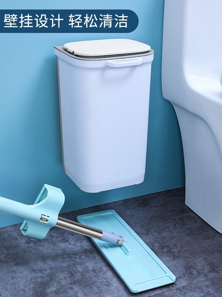 Hanging White Trash Can Waterproof Kitchen Cute Press Simple Waste Bin Toilet Rangement Cuisine Household Cleaning Tools DG50WB enlarge