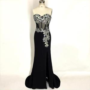 Sweetheart Long Mermaid Evening Dresses Black 2020 Vestido De Festa Sirena Crystal Illusion Formal Evening Gowns Abendkleider