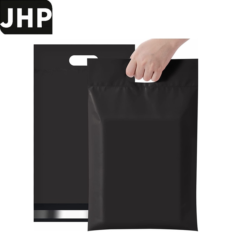 50Pack/lot 10x13Inch 12.6x16.1Inch Black Color Poly Mailer On-line Shopping Self Adhesive Postal Envelope Bag With Handle