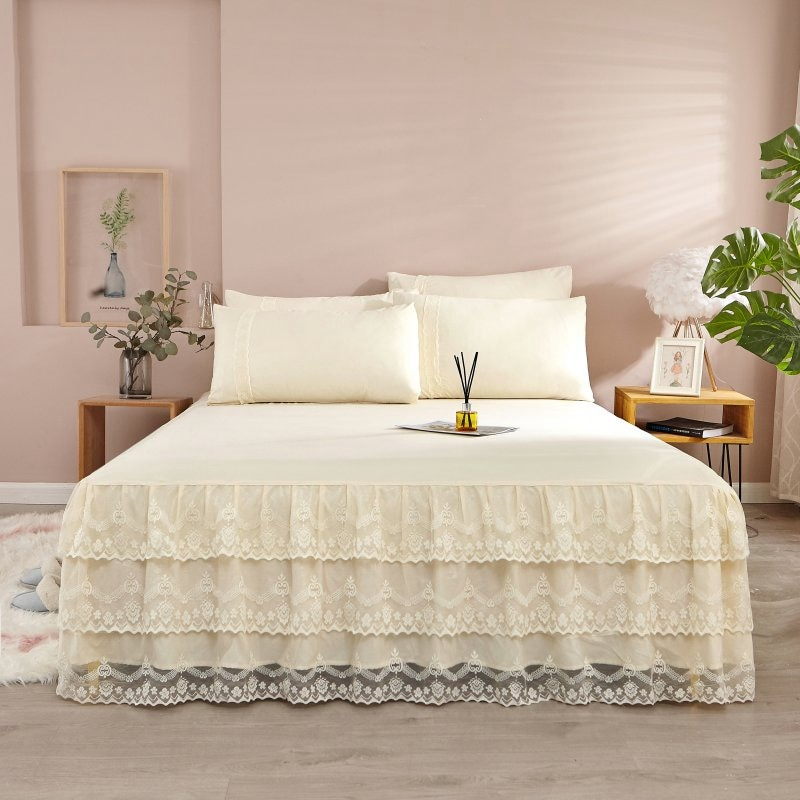 Lace Solid Color Bedspread for Couple Double King Queen Size Mattress Cover Bed Linen Cotton Sheet Pillowcase Home Bed Cover  - buy with discount