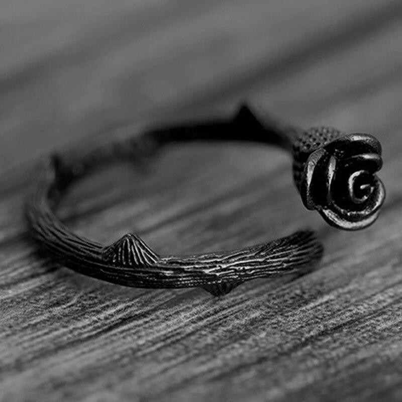 Anillo de diseño novedoso, chapado en negro, anillos de flores rosas para mujer, joyería, anillo de articulación ajustable, para mujer, regalo de fiesta de navidad