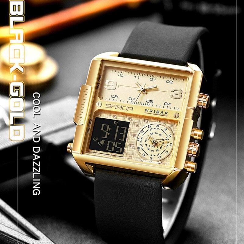 Sanda Мужские квадратные часы 2020 Топ бренд Роскошные креативные 3 времени дисплей часы для мужчин спортивные Водонепроницаемые кожаные часы ...