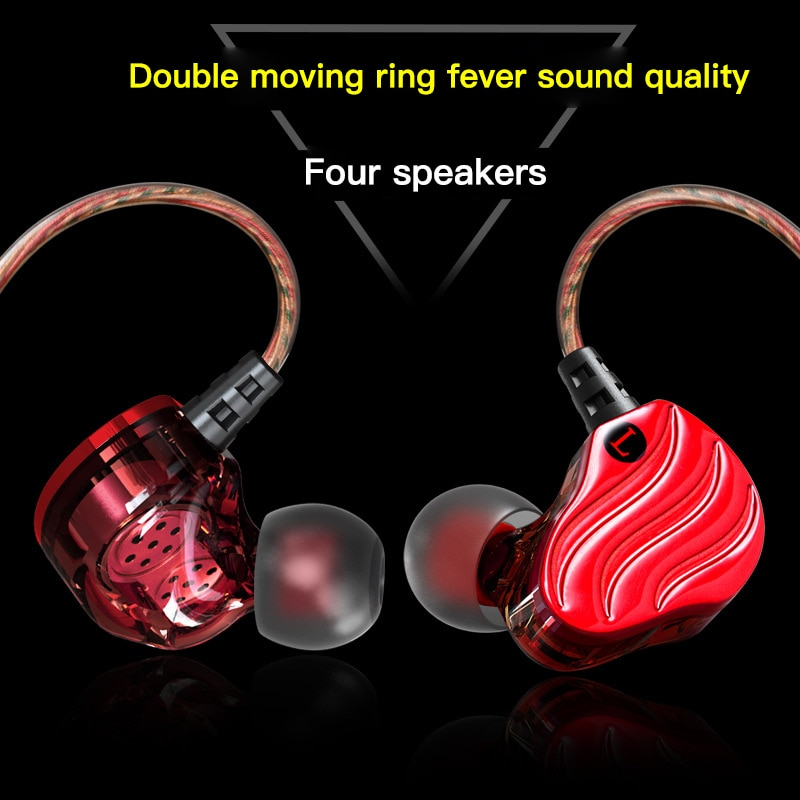 Super Bass Sound Earphone 3.5mm Dual Unit Stereo Wired Earphones With Microphone Headset For Samsung Xiaomi iPhone Smartphone