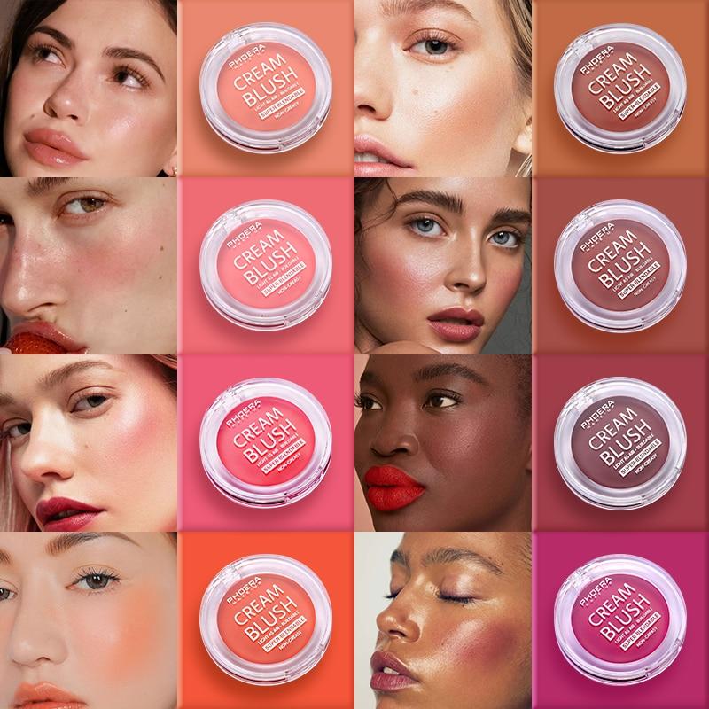 Blush Cream Brighten Face Contour Makeup Blush Paste Makeup-Palette Breath 8 Colors Natural Waterproof Pearlescent Matte PHOERA