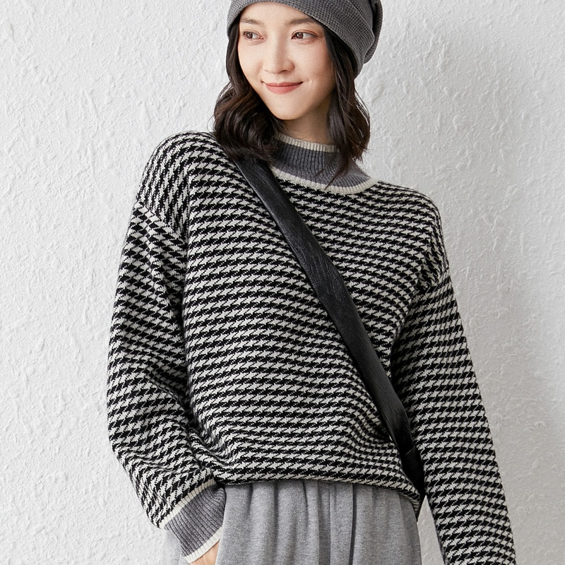 2021 woman winter 100% Cashmere sweaters knitted Pullovers jumper Warm Female O-neck blouse striped long sleeve clothing enlarge