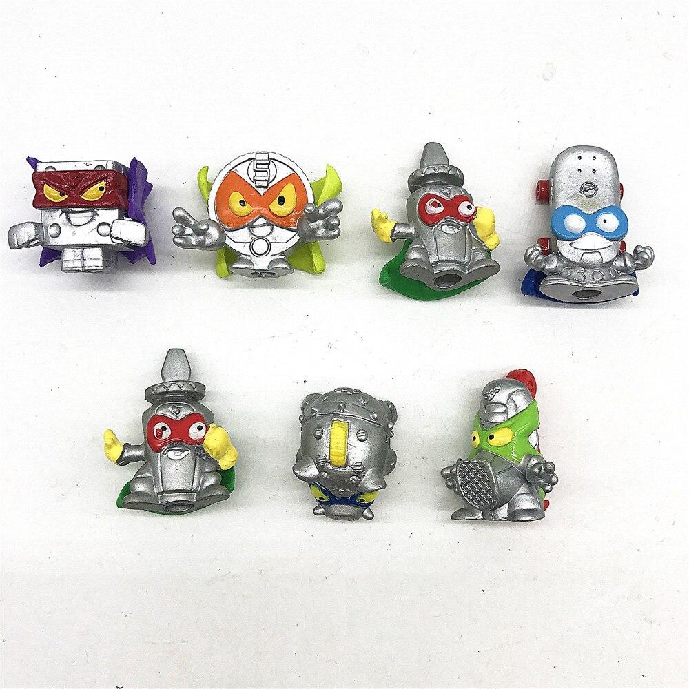 7 pçs superzings raro prata lixo borracha dos desenhos animados anime figuras de ação brinquedo super zings coleção modelo crianças brinquedos