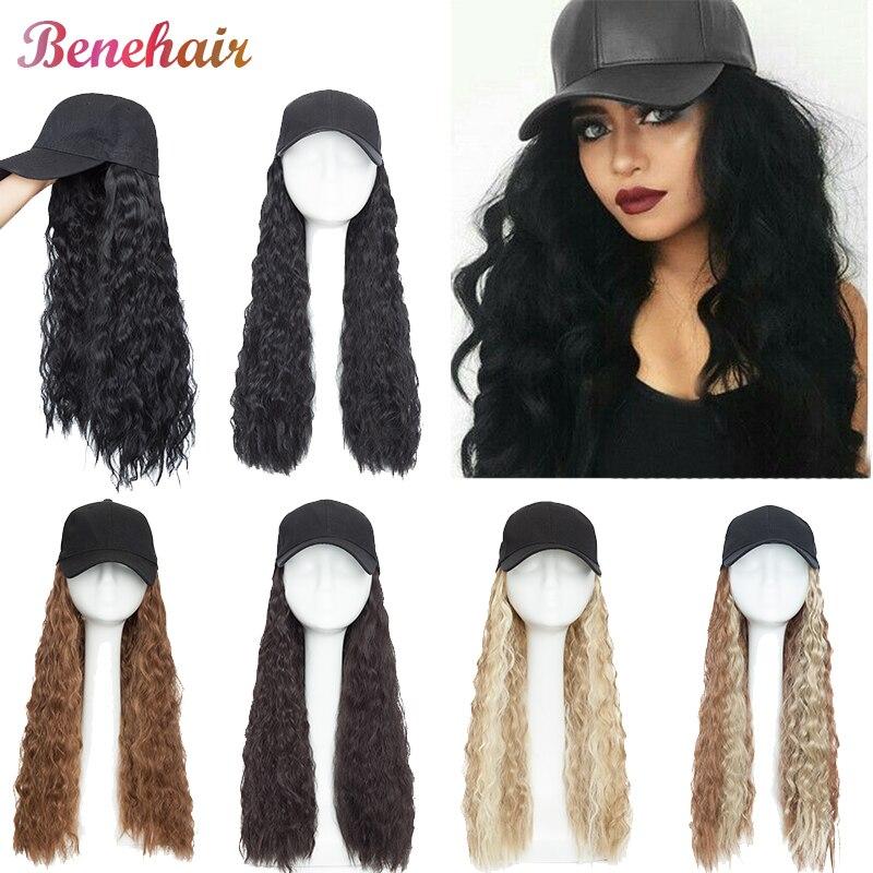 Женская Бейсболка для волос BENEHAIR, черная бейсболка с волнистыми синтетическими волосами, парики женские, парик длинный, накладные волосы, в...