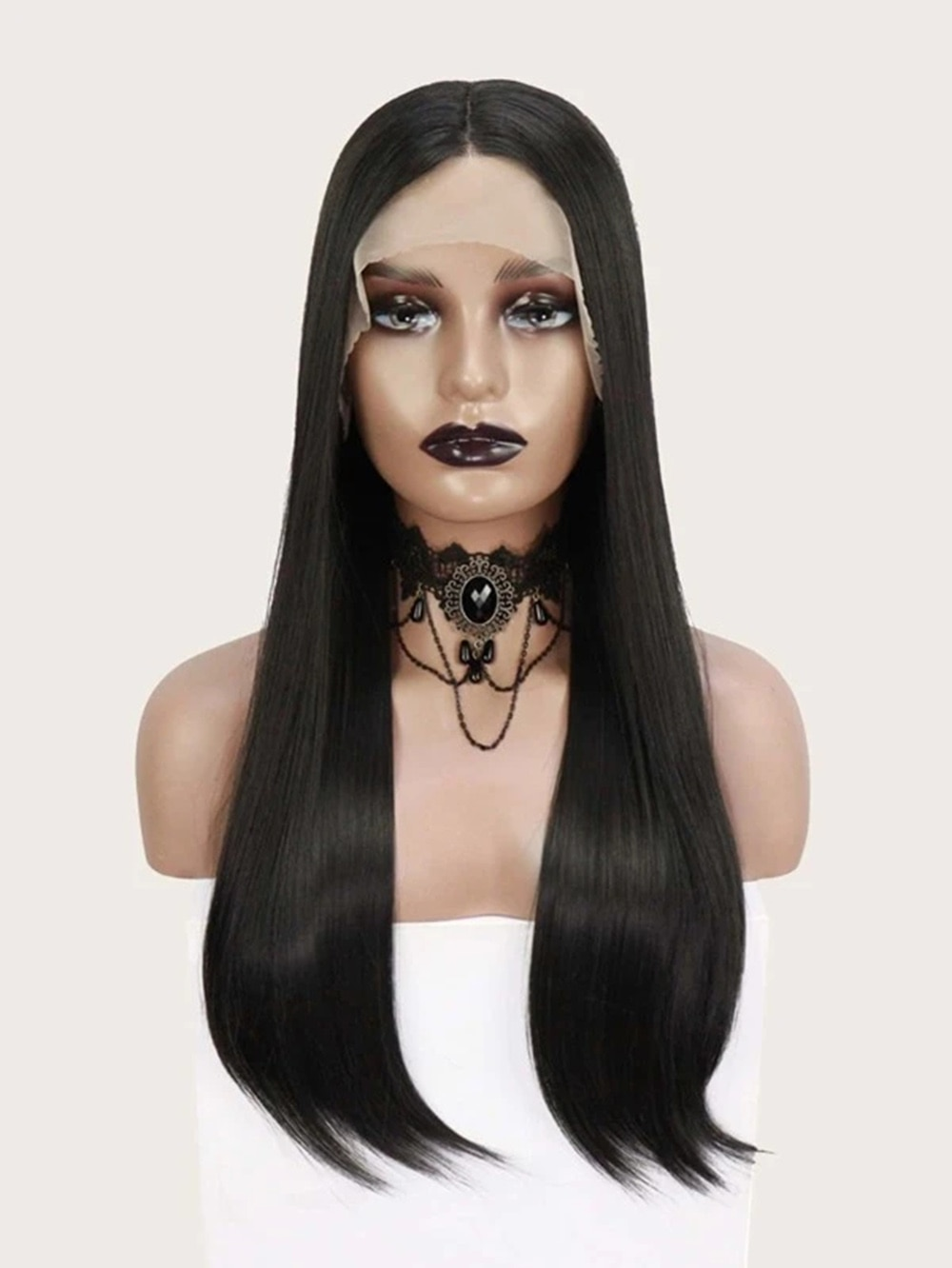 simulation Remy Human Hair Lace Front Wig Long Straight Black Wig for women 22 inch