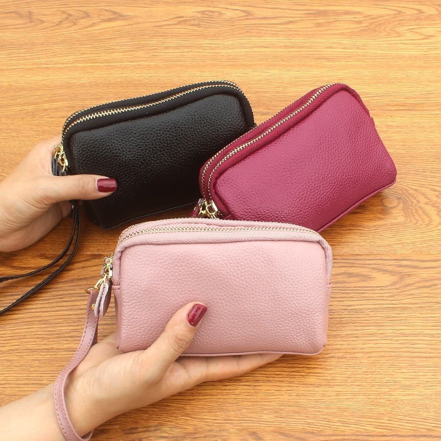 Double zipper coin purse, leather clutch, coin purse