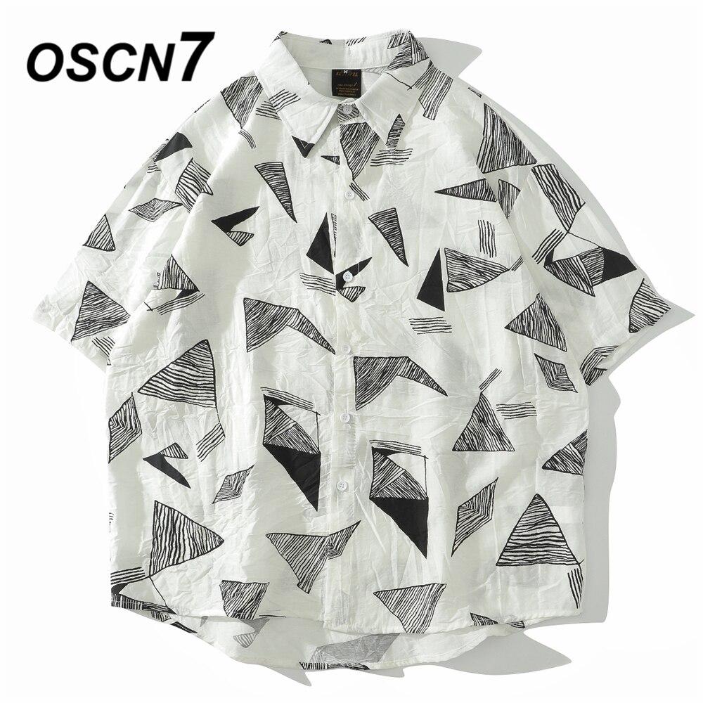 OSCN7 décontracté imprimé manches courtes chemise hommes rue 2020 Hawaii plage surdimensionné femmes mode Harujuku chemises pour hommes 3961