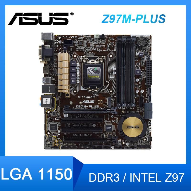 Review ASUS Z97M-PLUS Motherboard LGA 1150 DDR3 PCI-E 3.0 M.2 USB3.0 support Core i34160T Xeon E3-1245 V3 Intel Z97 Micro ATX Placa-mãe