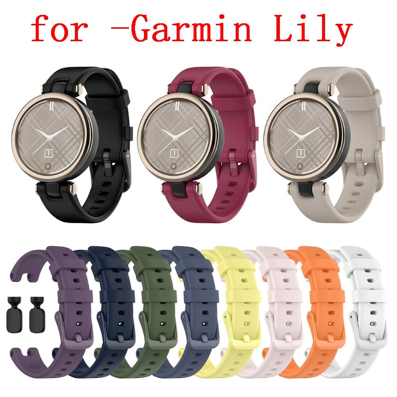 14mm Silicone Watch Band Wristwatch Strap Bracelet Belt With Installation Tool for -Garmin Lily Smart Watch Accessories