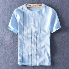 Nouveau style italie marque t-shirt hommes lin et coton bleu t-shirt pour hommes mode o-cou t-shirt hommes décontracté rayure t-shirts hommes