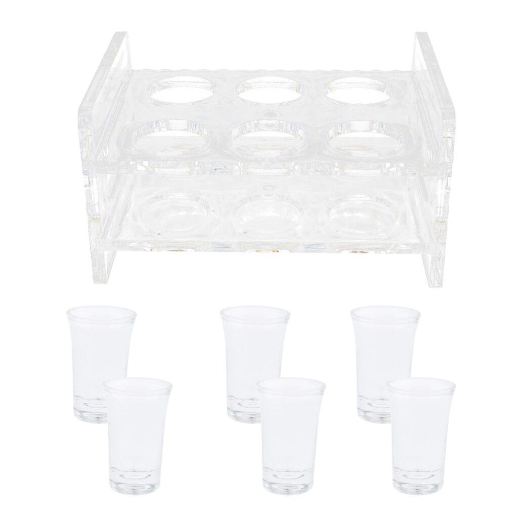 6 قطعة 35 مللي شوت زجاج & 6 حفرة حامل أكريليك رف تخدم مجموعة صينية ، تصميم شفاف ومقاومة للحرارة
