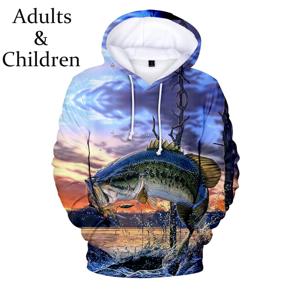 New Fashion 3D fish Hoodies Men Women New print Boys Girls Sweatshirt children casual Kids Autumn fi
