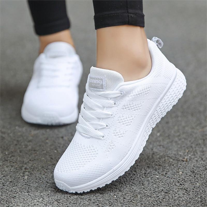 Women Casual Shoes Fashion Breathable Mesh Walking Vulcanized Shoes Woman White Sneakers Women Tenis