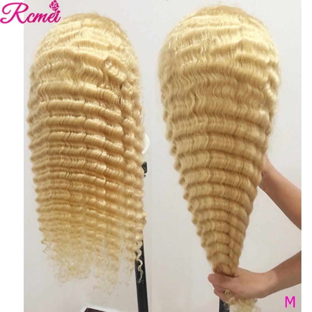 13х4 613 блонд парик фронта шнурка глубокая волна человеческие волосы парики с детскими волосами Remy бразильские предварительно сорванные для ...
