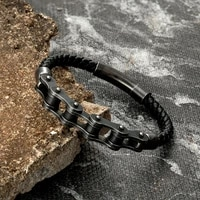 vintage braided genuine leather men stainless steel bracelet motorcycle bike chain wristband punk male wholesale bangle jewelry