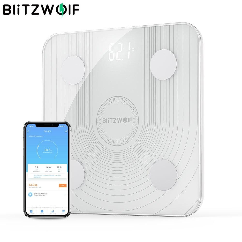 BlitzWolf BW-SC1 2.4GHz واي فاي الذكية مقياس الدهون في الجسم APP التحكم عن بعد تحليل البيانات BMI مع 13 مقاييس الجسم مقياس الوزن الرقمي