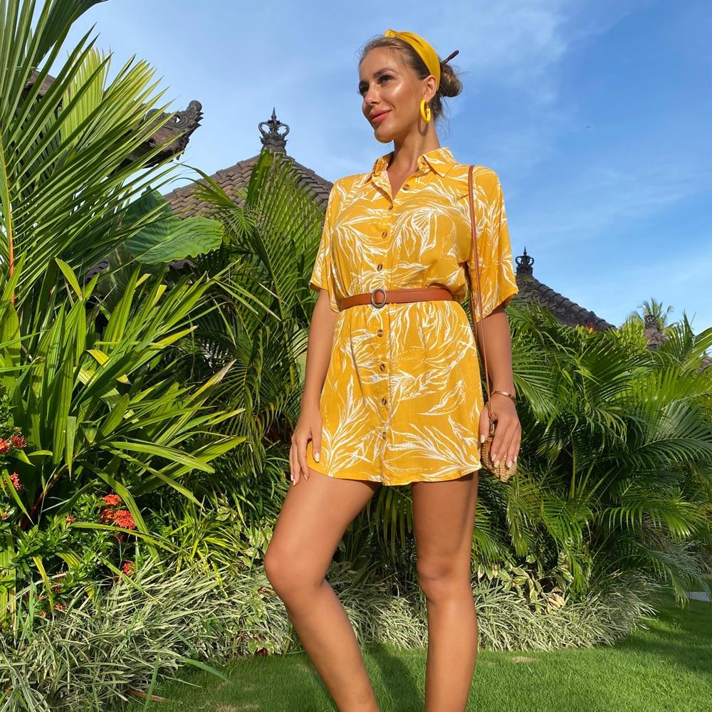 ZOGAA 2020 Spring and Summer New European American Explosions Womens Printed Loose Short-sleeved Shirt Skirt Cross-border